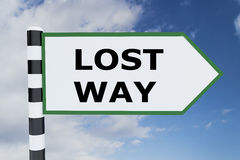 Lost Way concept. 3D illustration of `LOST WAY` script on road sign Stock Photography