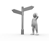Lost white human representation looking at blank signpost. On white background Stock Images