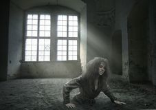 Lost woman. In the vacated room Stock Photos
