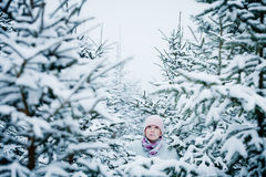 Lost Woman in Forest After Snowstorm Royalty Free Stock Photos