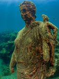 Statue of Antonia Minor in Claudio's Ninfeum. underwater, archeology. Lost wonders of Baiae, fashionable Roman resort town where numerous emperors owned royalty free stock photography