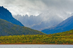 Lost World. The rain on the mountain ridge Big Anngachag Stock Image