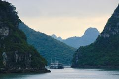 Lost world. Halong Bay boats trips in Northern Vietnam Stock Photos