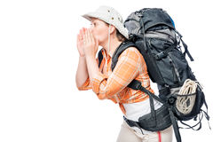 A lost young tourist calls for help, the space Royalty Free Stock Photos