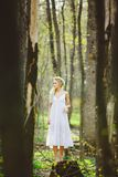 Lost young woman with blond hair in white dress forest among trees. The spring and summer mood royalty free stock images