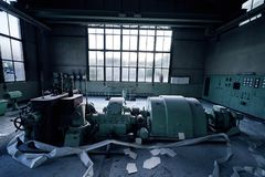 Old lost abandonend industrial factory building powerhouse. Lostplace old lost abandonend factory building powerhouse in green royalty free stock photo