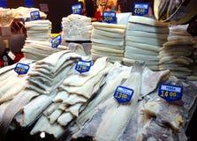 Losu Angeles Boqueria rynek Barcelona - Solankowy dorsz - Obrazy Stock