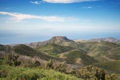 Losu Angeles Gomera krajobraz przeglądać od wysokiego punktu wyspa, Zdjęcie Royalty Free
