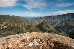 Losu Angeles Gomera krajobraz, punkt widzenia z górami i jary, Zdjęcie Royalty Free