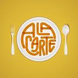 Losu Angeles menu wycena Typographical tło z rozwidleniem i nożowym 3D odpłaca się 3D ilustrację Obrazy Stock