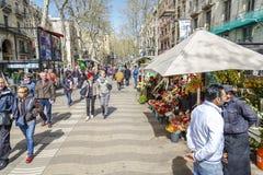 Losu Angeles Rambla ulica w Barcelona, Zdjęcia Stock