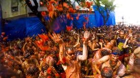 Losu Angeles Tomatina festiwal w Bunol, Hiszpania 2015 Zdjęcia Royalty Free