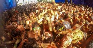 Losu Angeles Tomatina festiwal w Bunol, Hiszpania 2015 Obraz Royalty Free
