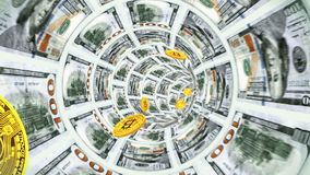 Lotów bitcoins przez tunelu dolarowi rachunki royalty ilustracja