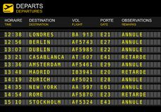 Lotów odjazdów deska Francuski lotnisko ilustracji