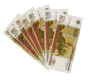 A lot of 100 Russian Roubles bank notes. Stock Photography