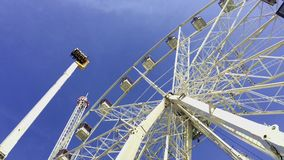 A lot of adrenaline. The rides at the amusement Park. Review wheel stock footage