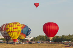 A lot of Air-Balloons Participating in International Aerostatics Cup Royalty Free Stock Photo