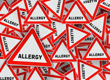 A lot of allergy triangle road sign. Close Royalty Free Stock Photo