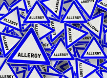 A lot of allergy triangle road sign. Close Stock Images