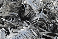 Lot aluminum tape. metal scrap Stock Photos