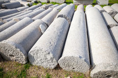 A lot of ancient columns lay in a row. Smyrna. Izmir, Turkey Royalty Free Stock Photos