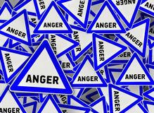 A lot of anger triangle road sign. Close Royalty Free Illustration