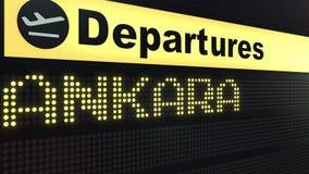 Lot Ankara na lotnisko międzynarodowe odjazdów desce Podróżować Indyczy konceptualny 3D rendering ilustracja wektor