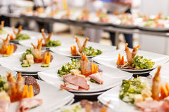 Lot of appetizer plates Stock Image