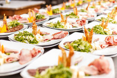 Lot of appetizer plates Royalty Free Stock Images