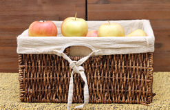 A lot of apples in the basket Stock Photo