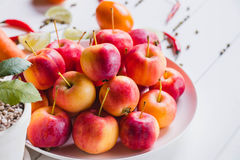 A lot of apples on the plate Stock Photo