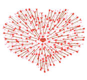A lot of arrows flying in the heart Royalty Free Stock Photos