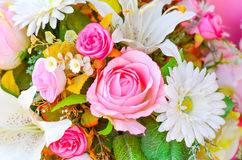 Lot of artificial flowers in colorful composition Royalty Free Stock Photography