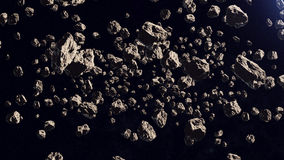 A lot of asteroids in a far off orbit. 3d rendering of a lot of asteroids in a far off orbit on a black background royalty free illustration