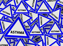 A lot of asthma triangle road sign Royalty Free Stock Photo