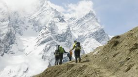 A lot of backpackers on the trekking Larke Pass in Nepal. Manaslu area. A lot of backpackers on the trekking Larke Pass in Nepal. Manaslu area stock video