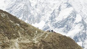 A lot of backpackers on the trekking Larke Pass in Nepal. Manaslu area. A lot of backpackers on the trekking Larke Pass in Nepal. Manaslu area stock footage