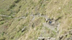 A lot of backpackers walk on path in nepalese mountains. Manaslu circuit trek.