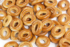 A lot of bagels. On a white background Stock Photography