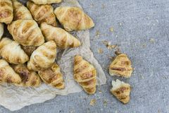 A lot of baked mini croissants royalty free stock images