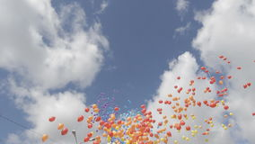 A lot of balloons in the sky stock footage