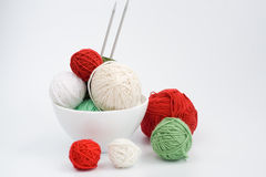 A lot of  balls of knitting on the background Royalty Free Stock Image