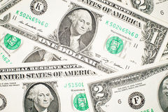A lot of banknotes one and two US dollars Stock Photo