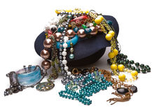 A lot of beads and bracelets in the hat Royalty Free Stock Photo