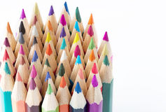 A lot of beautiful colored pencils. Macro Royalty Free Stock Photo