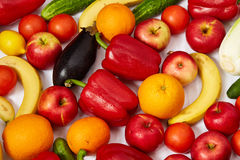 A lot of beautiful fruit and vegetables Royalty Free Stock Images