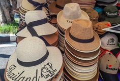 A lot of beautiful hat in thai stlye with message thailand . Royalty Free Stock Image