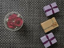 Beautiful tissue paper with a small box royalty free stock images