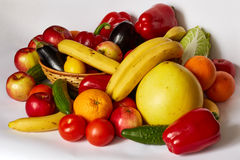 A lot of beautiful vegetables and beautiful fruit Royalty Free Stock Photos